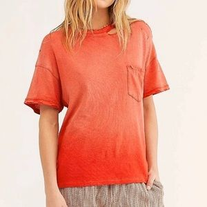NWOT free people lucky tee cosmic red